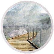 Footbridge In The Clouds Round Beach Towel