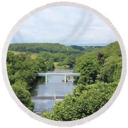 Footbridge Over The River Tees Round Beach Towel