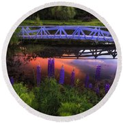 Footbridge Sunset Round Beach Towel