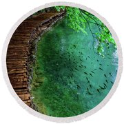Footpaths And Fish - Plitvice Lakes National Park, Croatia Round Beach Towel