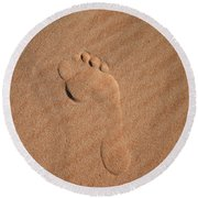 Round Beach Towel featuring the photograph Footprint In The Sand by Keiran Lusk