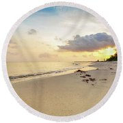Footprints In Sand On Beach At Sunrise Round Beach Towel