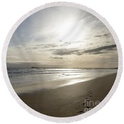Round Beach Towel featuring the photograph Footprints In The Sand by Linda Lees