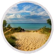 Round Beach Towel featuring the painting Footprints In The Sand P D P by David Dehner