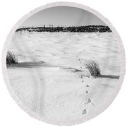 Footprints In The Snow I Round Beach Towel