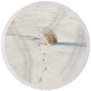 Footprints In The Snow II Round Beach Towel