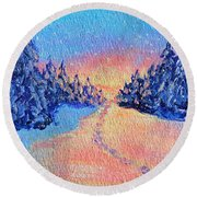 Footprints In The Snow Round Beach Towel by Li Newton