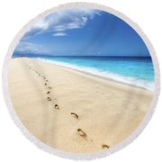Footprints Of Tranquility Round Beach Towel