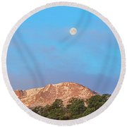 For God So Loved The World That He Created Mountains.  Round Beach Towel