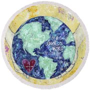For He So Loved The World Round Beach Towel by Kirsten Reed
