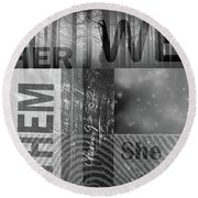 Round Beach Towel featuring the digital art For Her by Nancy Merkle