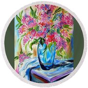 For The Love Of Flowers In A Blue Vase Round Beach Towel