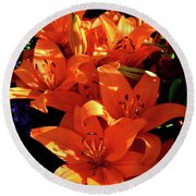 Round Beach Towel featuring the photograph For The Love Of Lilies by Kathy Kelly