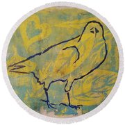 Round Beach Towel featuring the painting For The Love Of Raven by Cynthia Lagoudakis