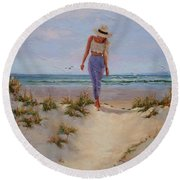 Round Beach Towel featuring the painting For The Love Of The Sea by Laura Lee Zanghetti