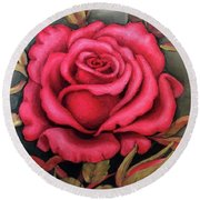For You, The Red Rose Round Beach Towel