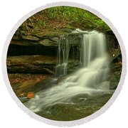 Forbes State Forest Cole Run Cave Falls Round Beach Towel