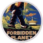 Forbidden Planet Amazing Poster Round Beach Towel