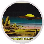Forbidden Planet In Cinemascope Retro Classic Movie Poster Detailing Flying Saucer Round Beach Towel