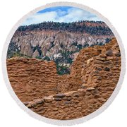 Round Beach Towel featuring the photograph Forbidding Cliffs by Alan Toepfer