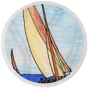 Force Of The Wind On The Sails Round Beach Towel