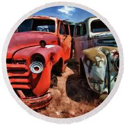 Ford And Chevy Standoff Round Beach Towel by Jeffrey Jensen
