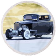 Ford Coupe Racing Round Beach Towel
