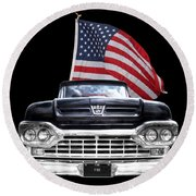 Ford F100 With U.s.flag On Black Round Beach Towel