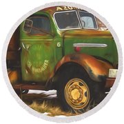 Ford Farm Truck Painterly Impressions Round Beach Towel
