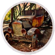 Ford Flatbed Truck Round Beach Towel