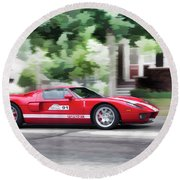 Round Beach Towel featuring the photograph Ford Gt Entering Lake Mills by Joel Witmeyer