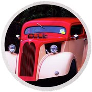 Round Beach Towel featuring the photograph 1934 Ford Coupe Hot Rod by Baggieoldboy