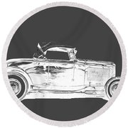 Ford Hot Rod Invert White Ink Tee Round Beach Towel