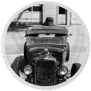 Round Beach Towel featuring the photograph Ford Low-boy by Christopher McKenzie