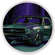 Ford Mustang 1967 Painting Round Beach Towel