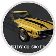 Ford Shelby Gt500 Fastback, Yellow And Black Original Art Print Round Beach Towel