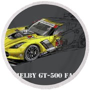 Ford Shelby Gt500 Fastback, Yellow And Black Sketch Round Beach Towel