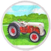 Round Beach Towel featuring the painting Ford Tractor 1941 by Jack Pumphrey