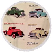 Ford Truck Stamps Round Beach Towel by Caroline Stella