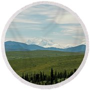 Foreground And Mountain Round Beach Towel