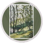 Forest By The Lake Round Beach Towel