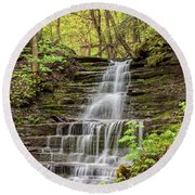 Round Beach Towel featuring the photograph Forest Cascade by Rod Best