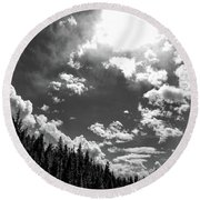 A New Day, Black And White Round Beach Towel