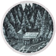 Forest Cottage Round Beach Towel