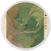 Forest Cover Map 1886-87 - Big Trees Quadrangle - California - Geological Map Round Beach Towel