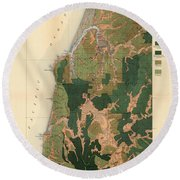 Forest Cover Map 1886-87 - Coos Bay Quadrangle - Oregon - Geological Map Round Beach Towel