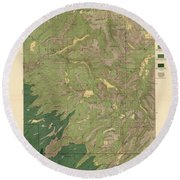 Forest Cover Map 1886-87 - Dardanelles Quadrangle - California - Geological Map Round Beach Towel