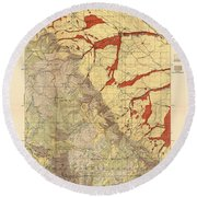 Forest Cover Map 1886-87 - Dayton Quadrangle - Wyoming - Geological Map Round Beach Towel