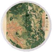 Forest Cover Map 1886-87 - Oregon Ashland Quadrangle - Geological Map Round Beach Towel