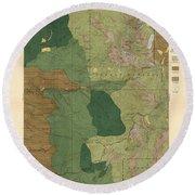 Forest Cover Map 1886-87 - Pyramid Peak Quadrangle - California - Geological Map Round Beach Towel